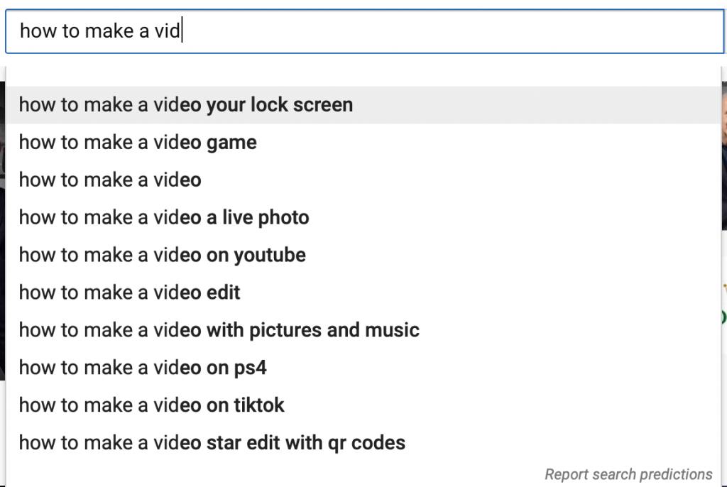 YouTube SEO autocomplete