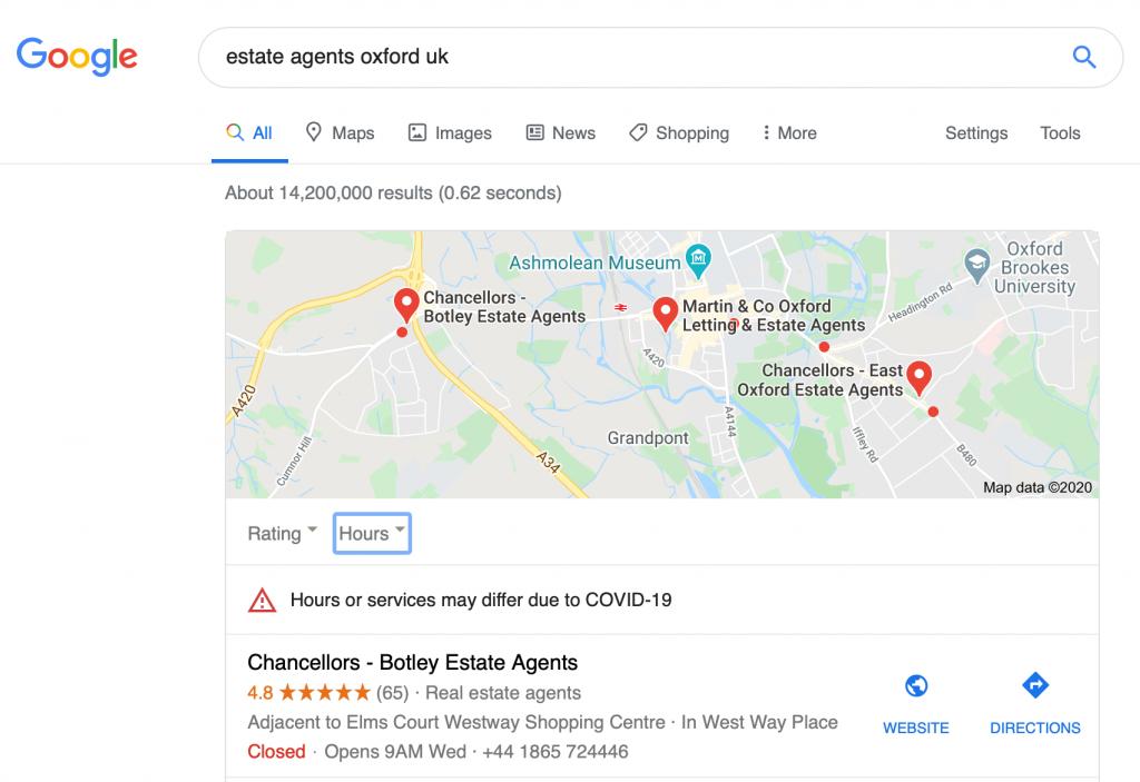 SEO for Estate Agents - oxford search