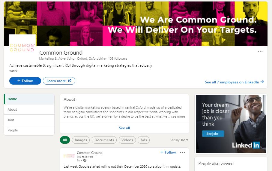 Common Ground digital marketing agency LinkedIn Company page