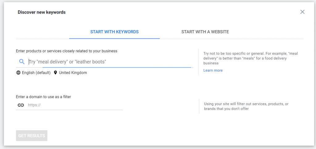 Google Ads Keyword Planner screenshot - free keyword tool for PPC and SEO