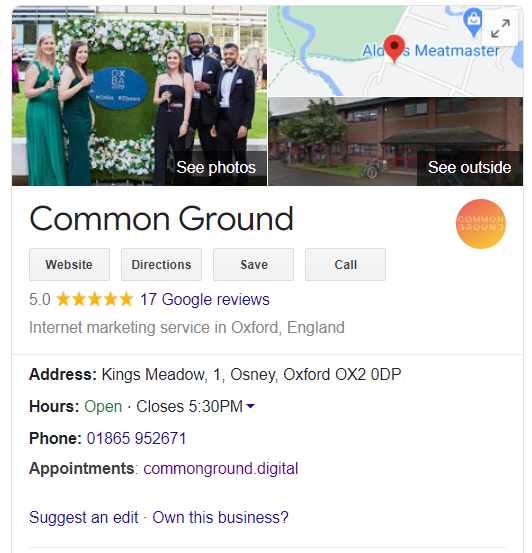 local seo ranking signals - google my business listing with positive customer reviews