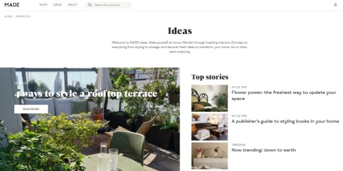 Common Ground - Blog - SEO for furniture stores - Made content marketing example