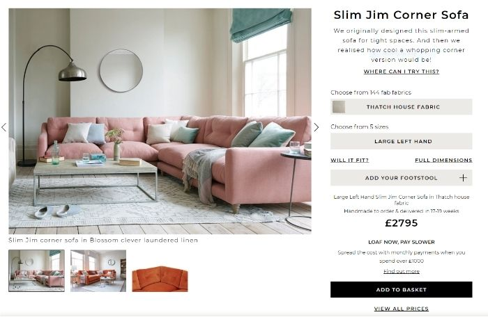 Common Ground - Blog - SEO for furniture stores - loaf product page optimisation