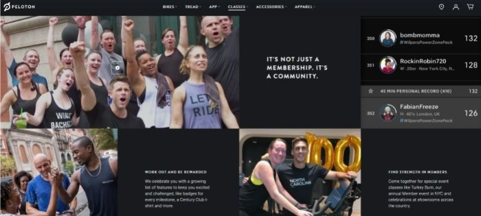 wellness marketing - community strategy - peloton example