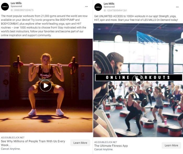 wellness marketing - paid social media - les mills example