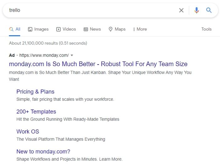 SaaS Marketing Strategy - PPC For SaaS - Monday Google Search Ad