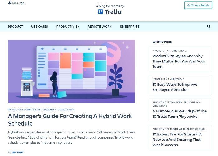 SaaS Marketing Strategy - SEO For SaaS - Content Marketing - Trello Blog